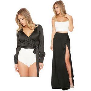Naked Wardrobe Black Satin Wrap Maxi Skirt Set